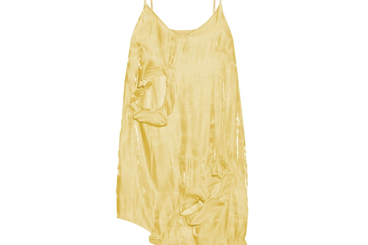 Asymmetric Cutout Crinkled-Satin Mini Dress