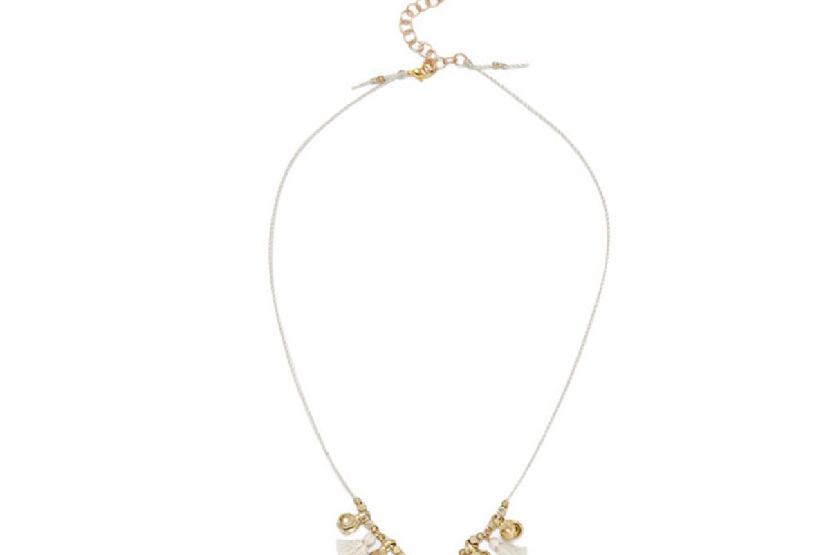 Tasseled Gold-Tone and Shell Necklace