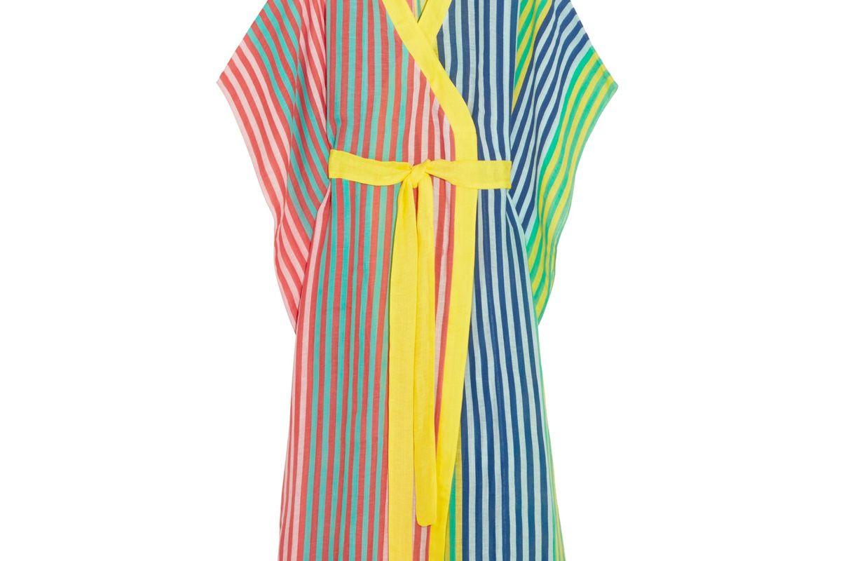 Striped Linen-Blend Kimono