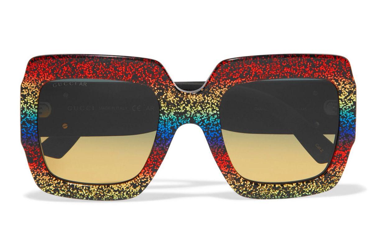 Square-Frame Glittered Acetate Sunglasses
