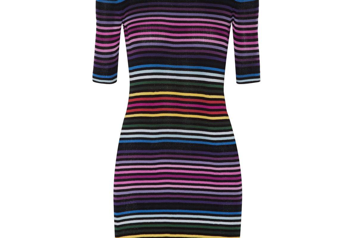 Striped Ribbed Cotton Mini Dress
