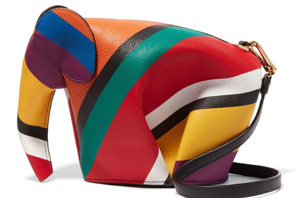 Elephant Striped Leather Shoulder Bag