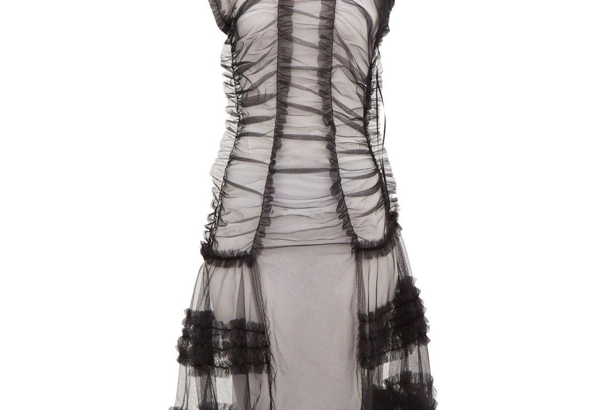 molly goddard moss sheer ruffled tulle dress