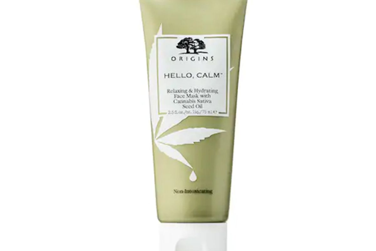 origins hello calm relaxing hydrating face mask with cannabis sativa seed oil
