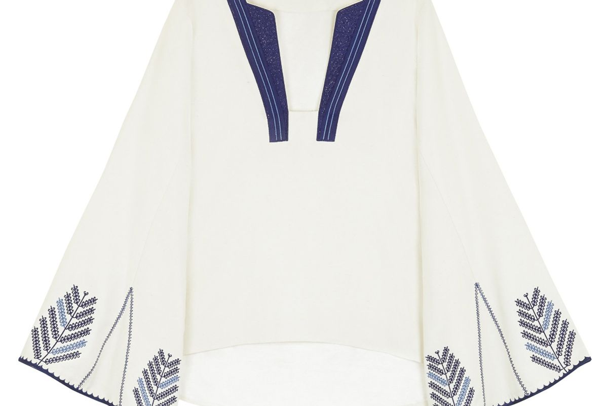 Tinos Raw Silk Blouse with Embroideries
