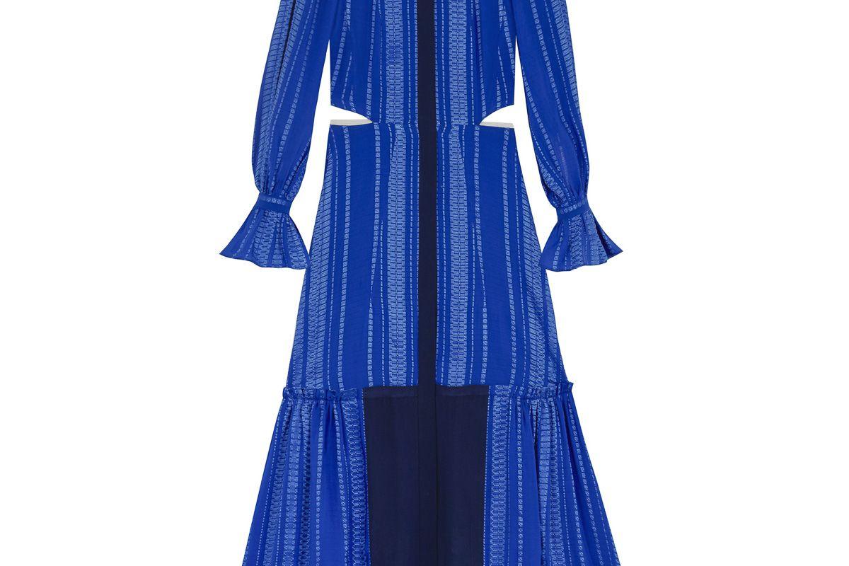 Nausika Maxi Textured Silk Sleeved Dress