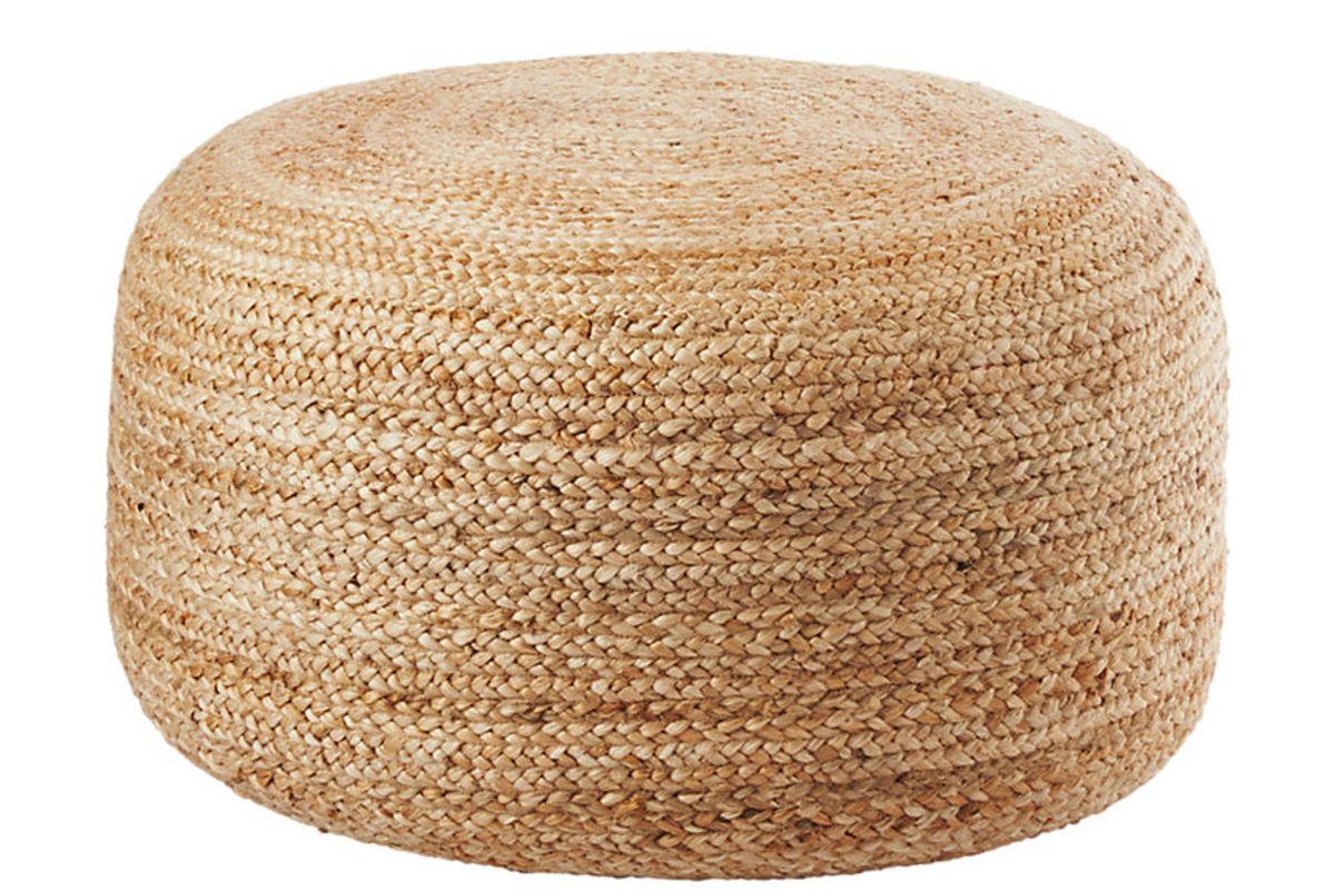 cb2 braided jute large pouf