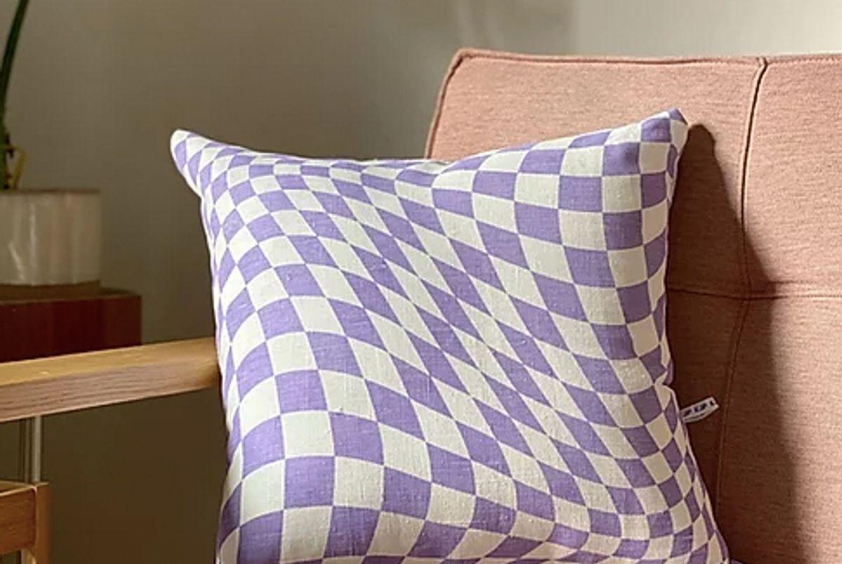 kjp linen screen printed twisted checkerboard pillows