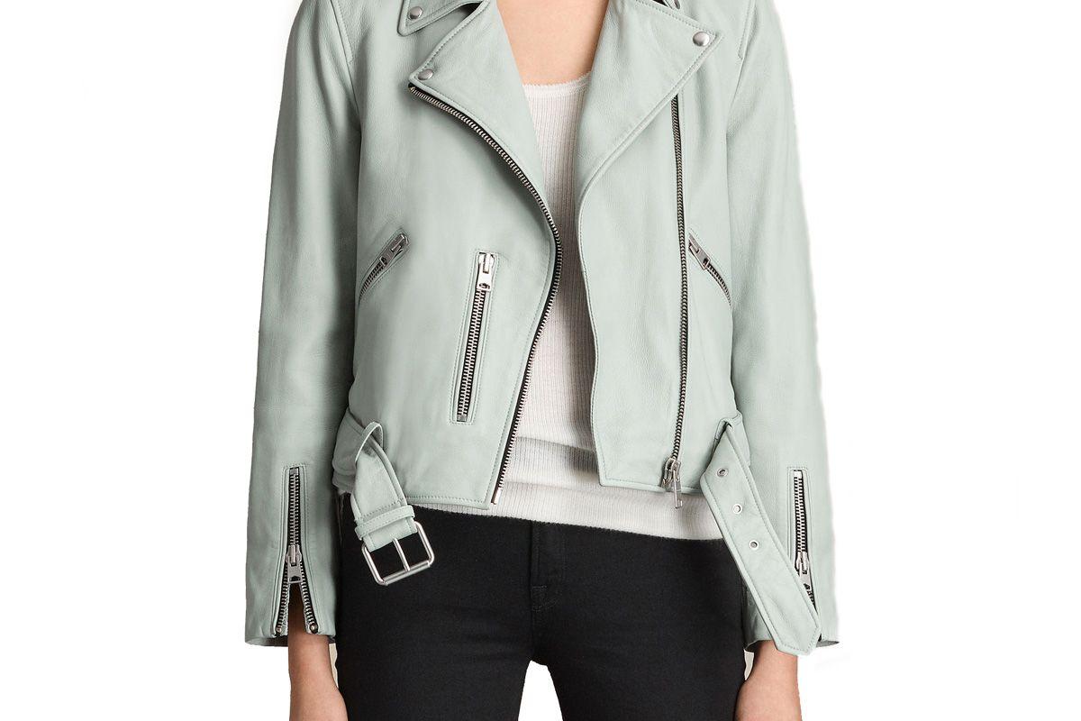 Balfern Leather Biker Jacket in Luna Blue