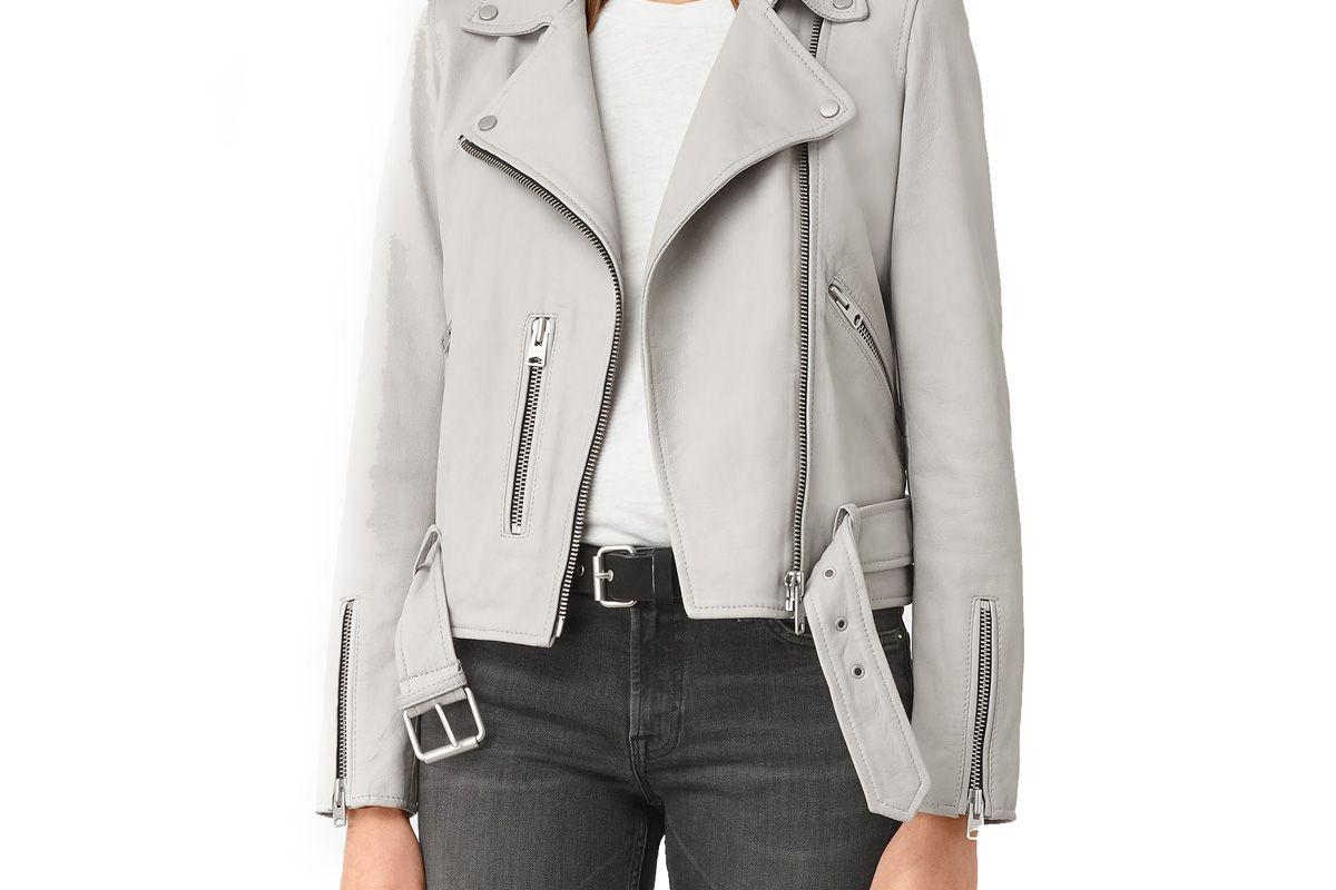 Balfern Leather Biker Jacket in Light Grey