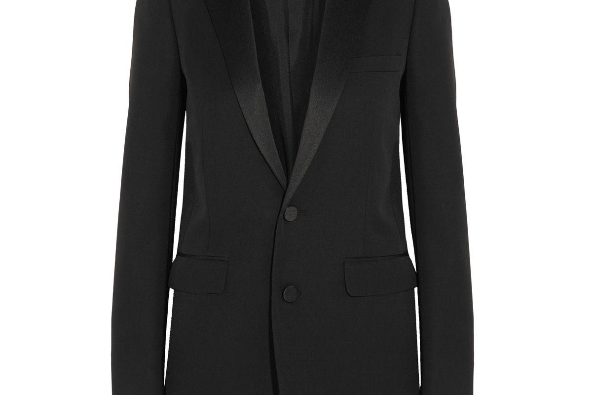 Satin-Trimmed Wool Tuxedo Blazer