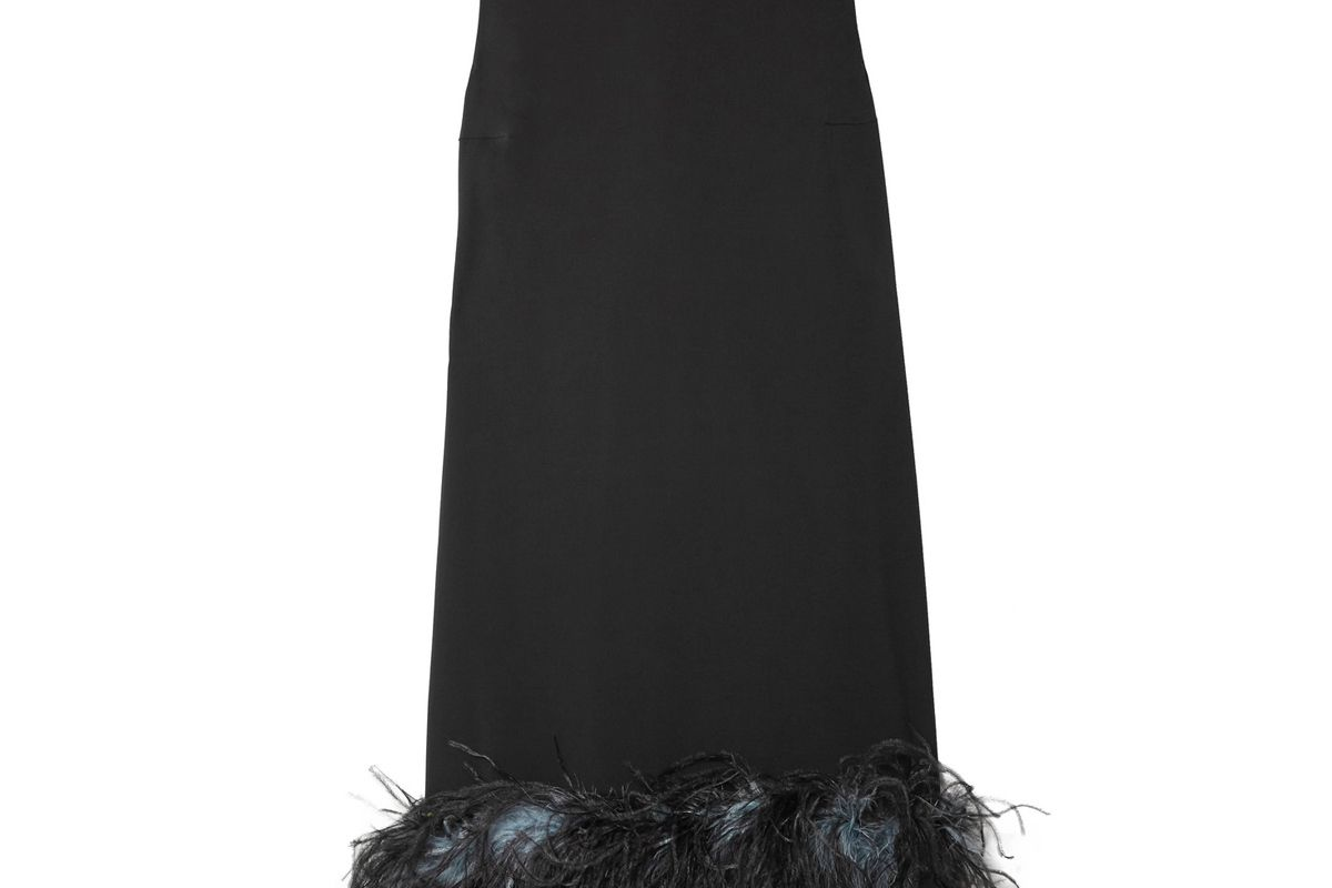 prada feather trimmed crepe de chine dress