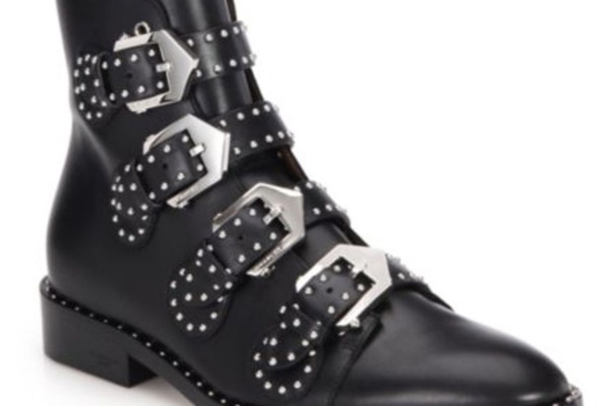 Studded Leather Buckled Ankle Boots
