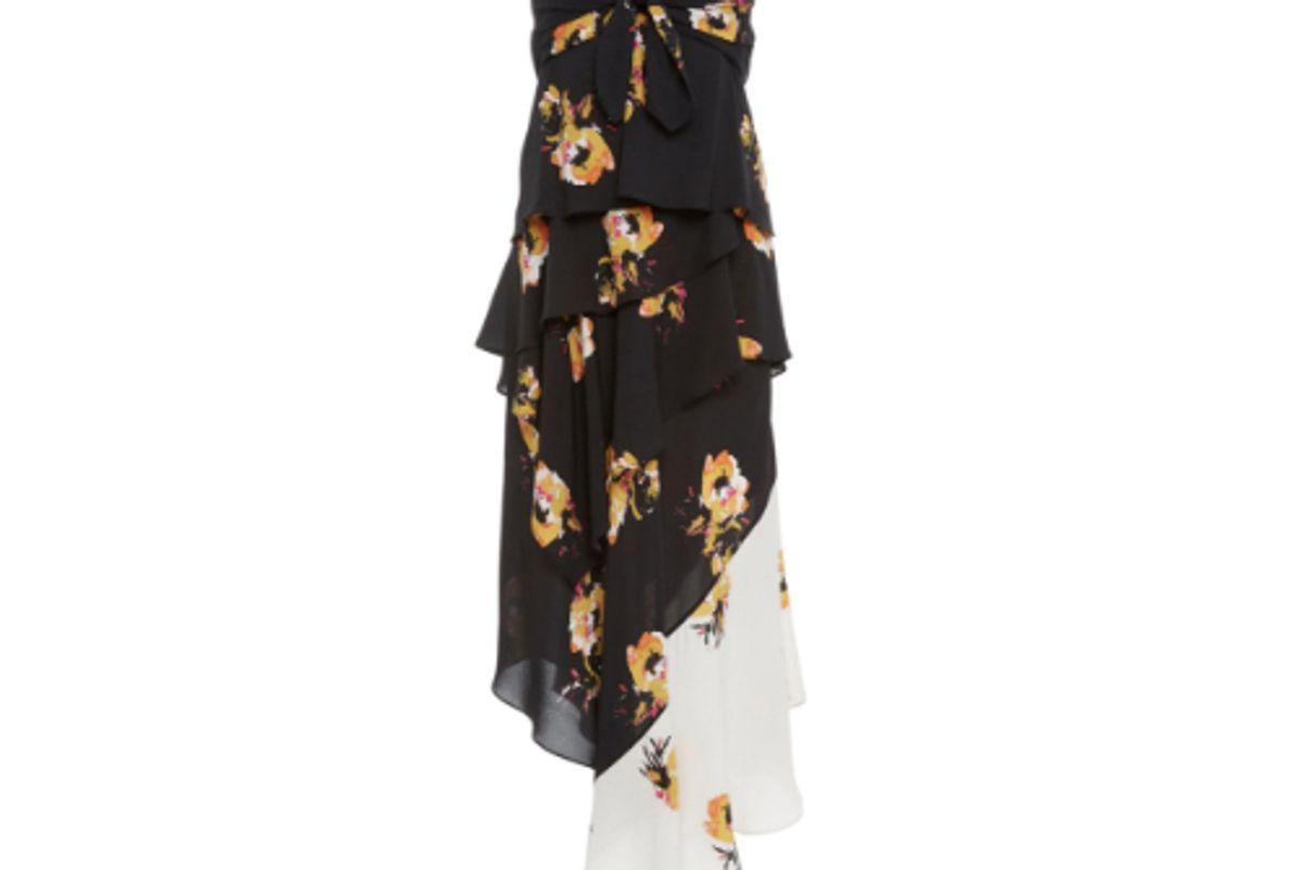 alc natalia mixed ruffle silk midi dress