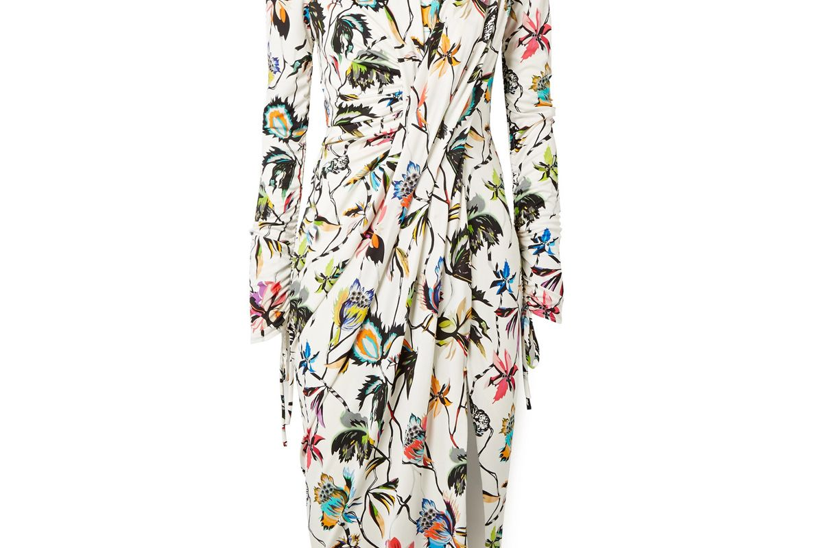 jason wu gathered floral print stretch jersey dress
