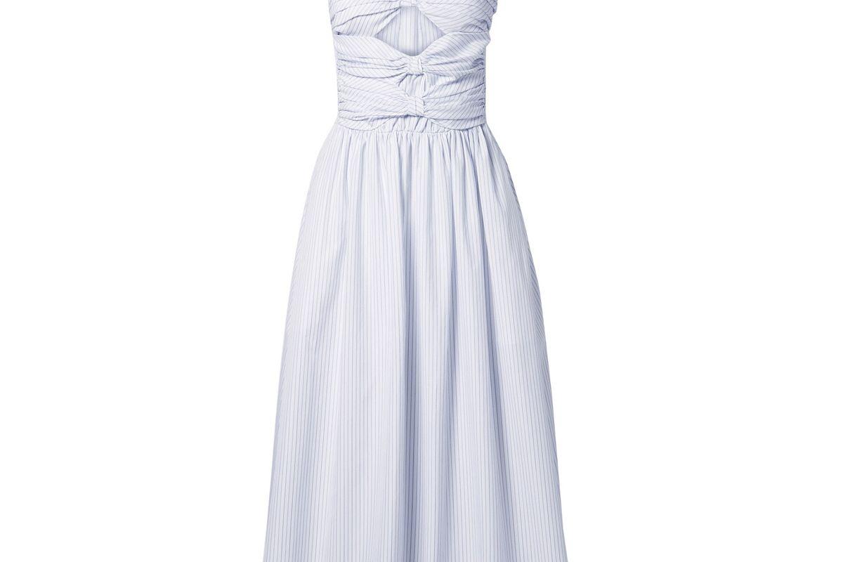 adam lippes cutout pinstriped cotton poplin midi dress