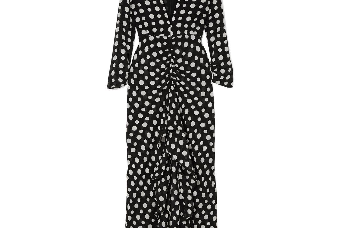 rixo london adriana ruffled polka dot silk crepe midi dress
