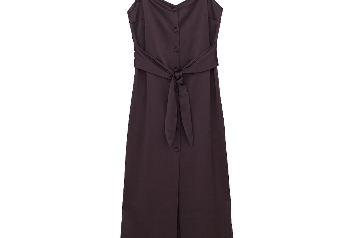 nanushka soraya satin button down dress