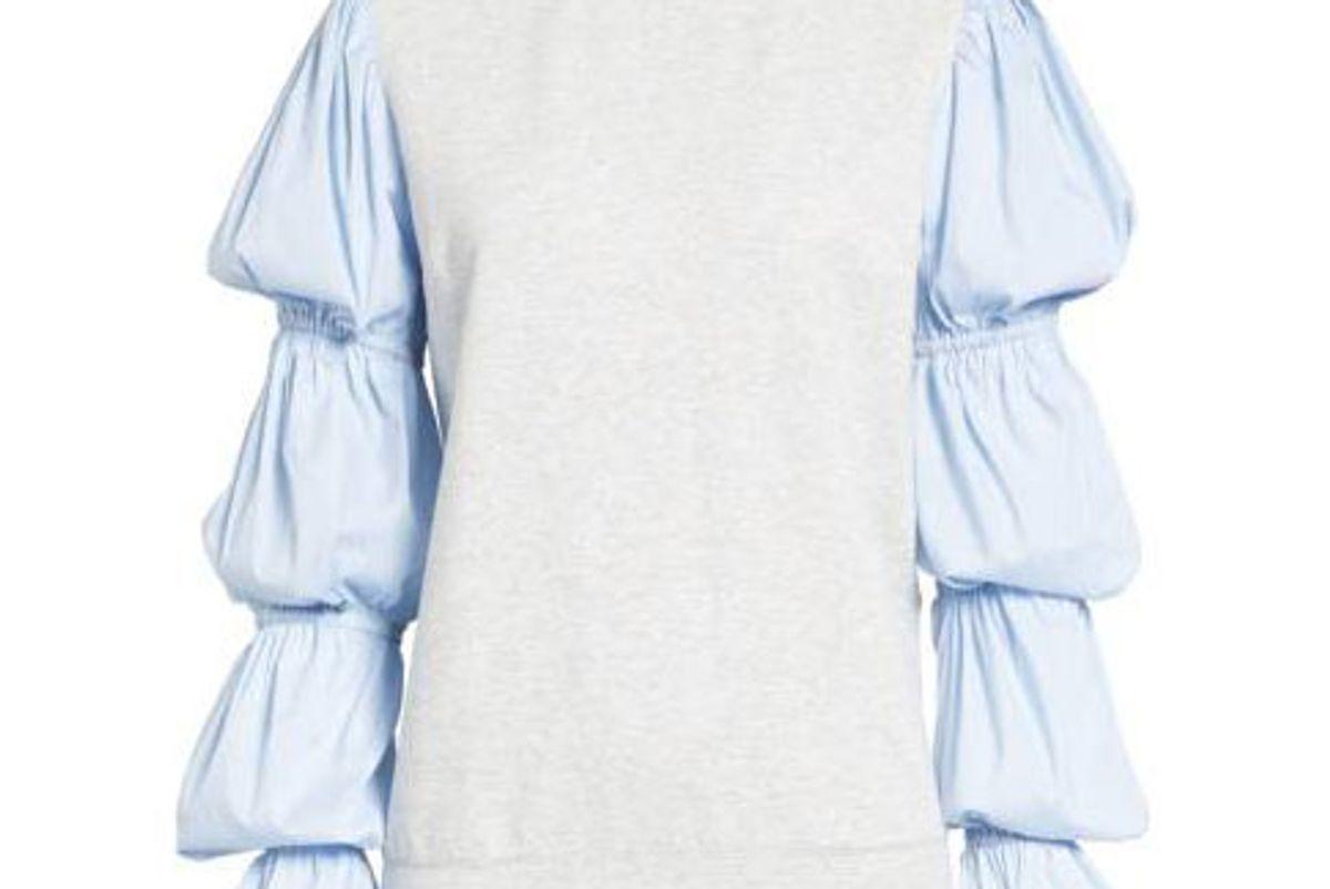 x Something Navy Poplin Sleeve Sweatshirt