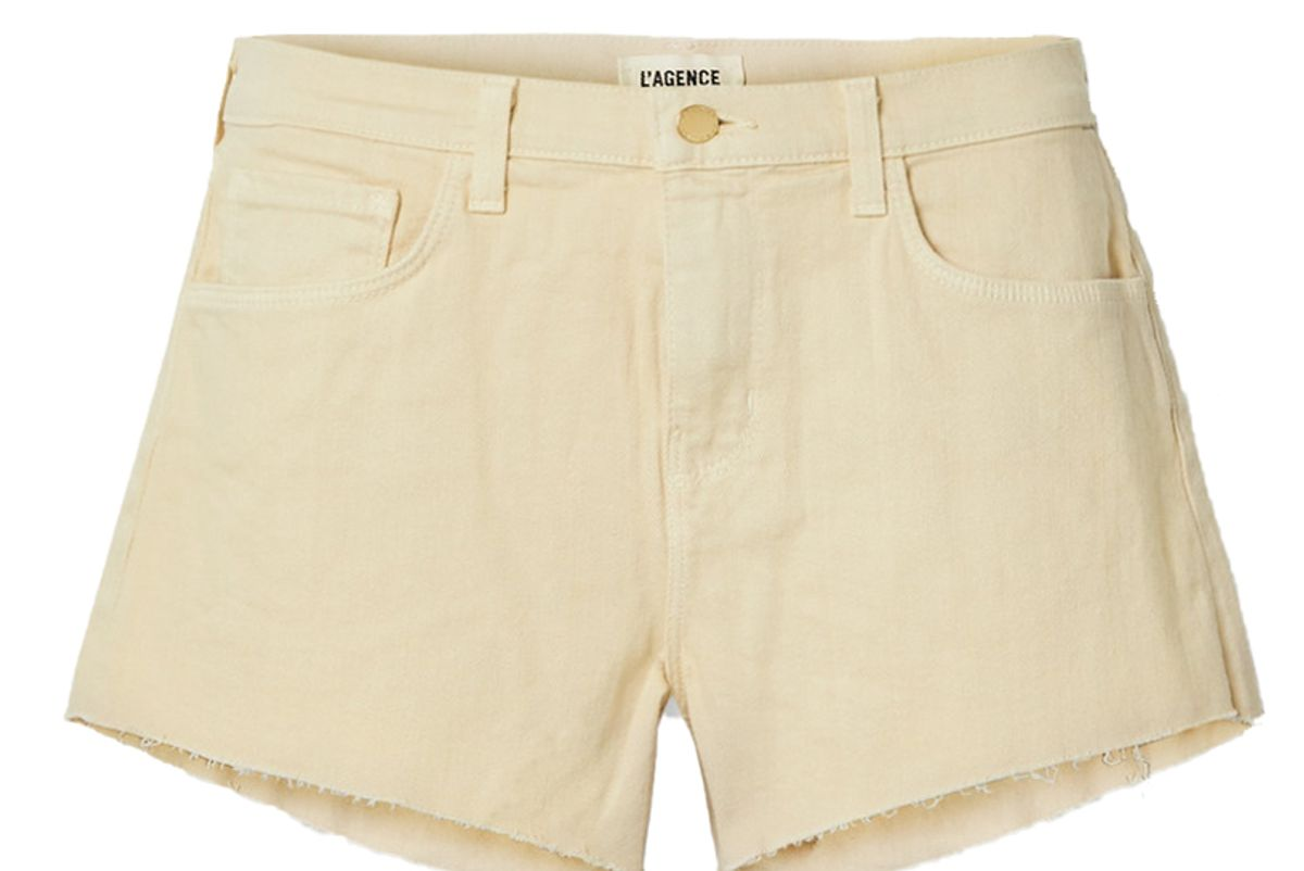lagence audrey frayed denim shorts