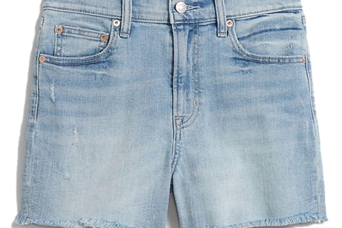 gap 4 inch high rise denim shorts with raw hem