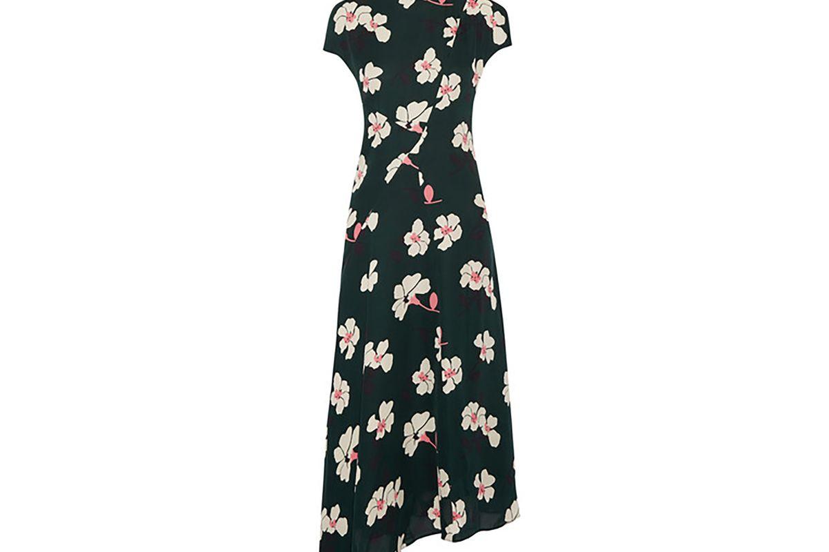 Asymmetric printed silk-chiffon midi dress