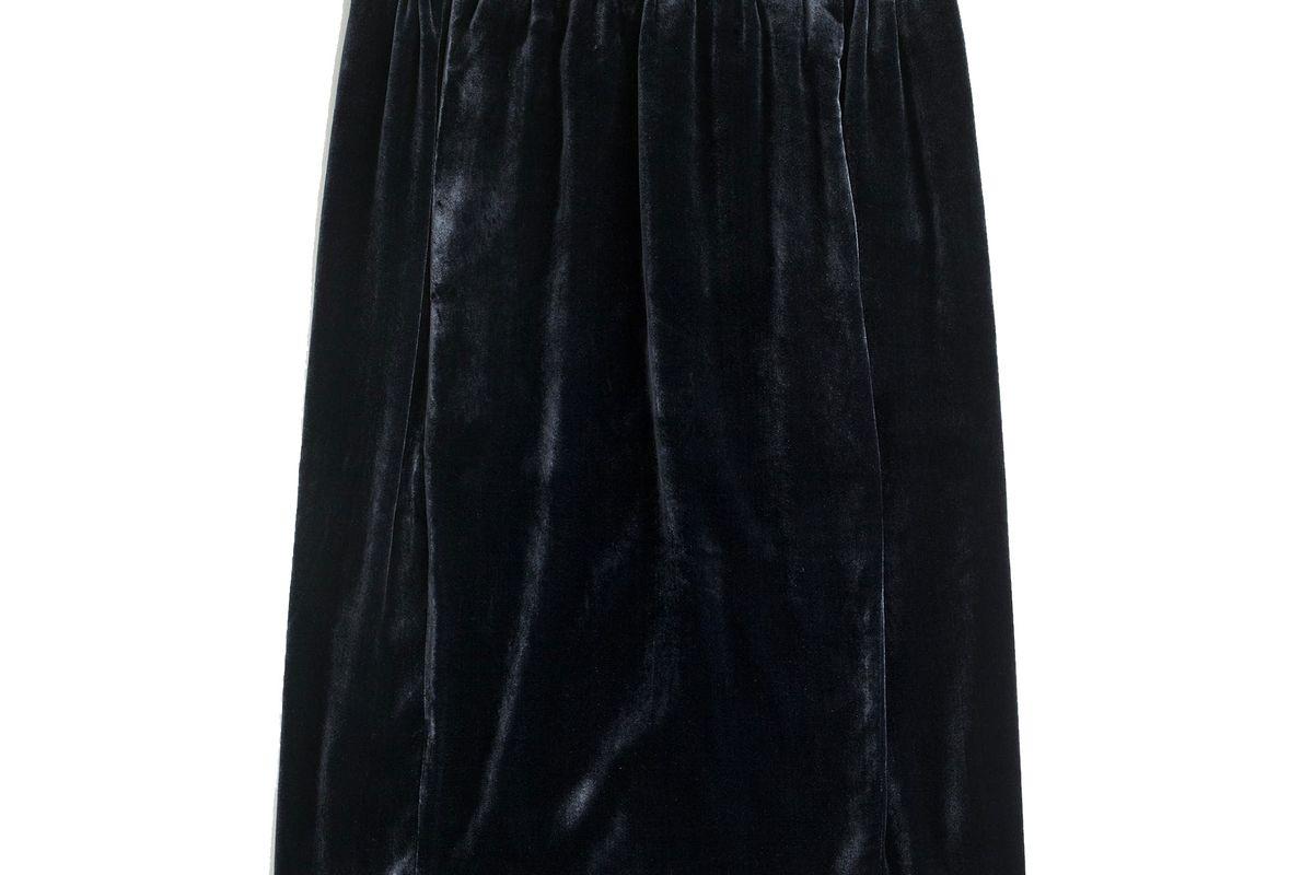 Velvet pull-on skirt