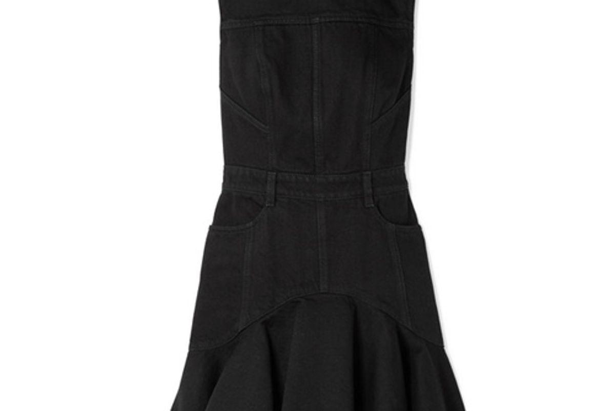 alexander mcqueen frayed denim mini dress