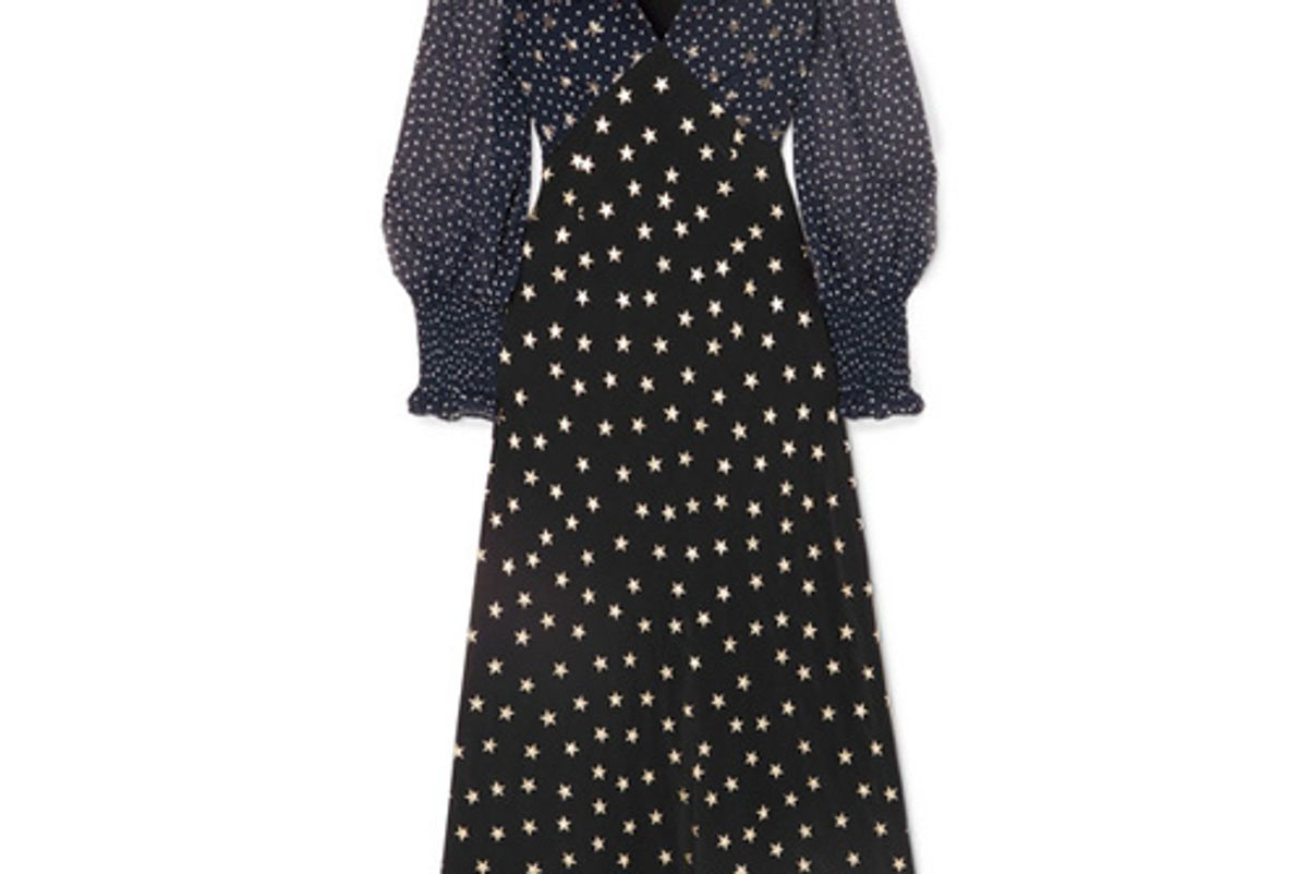 rixo london erin printed silk midi dress