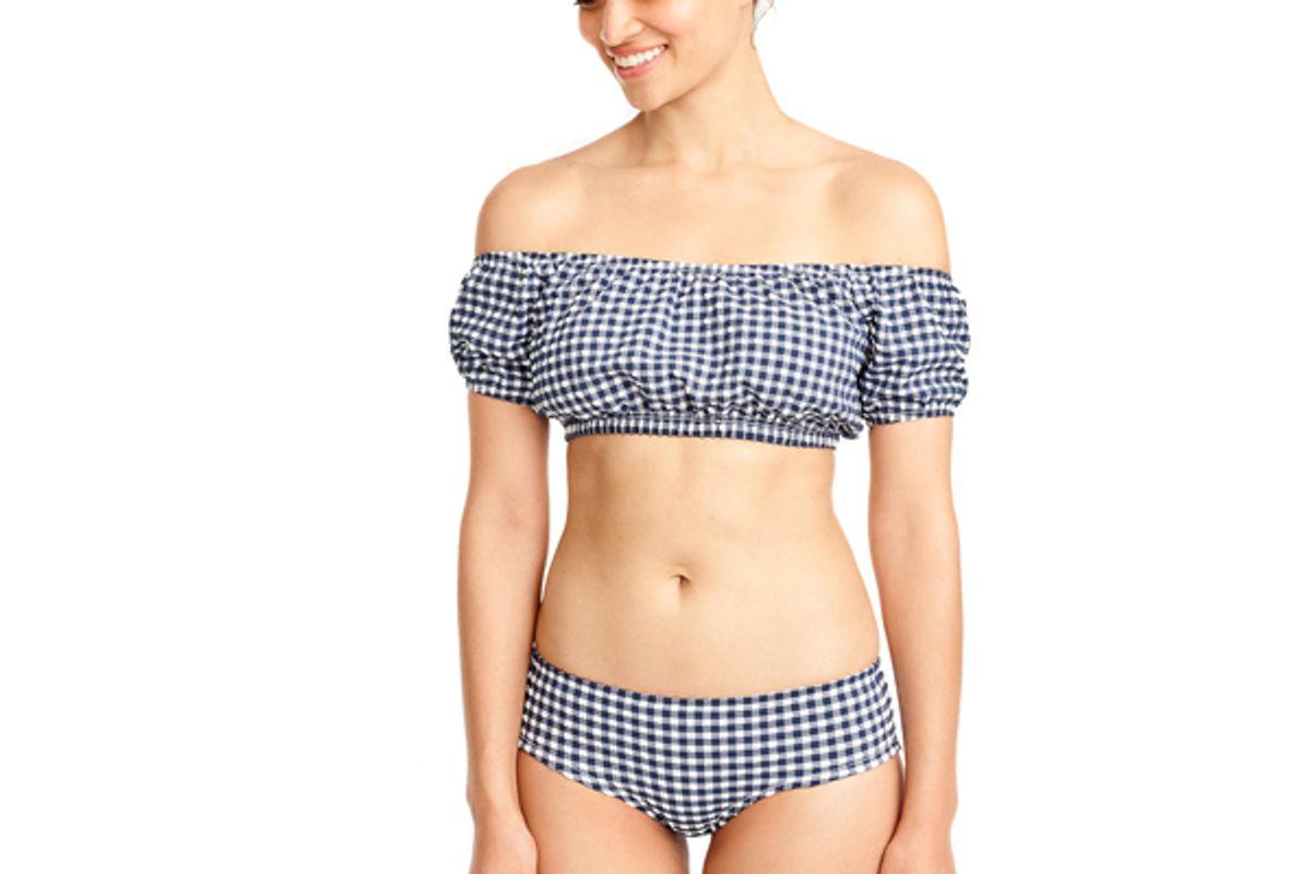 Gingham Off-the-shoulder Swim Top