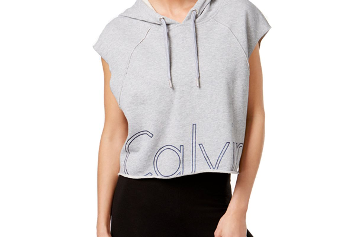 Cotton Cropped Logo Hoodie