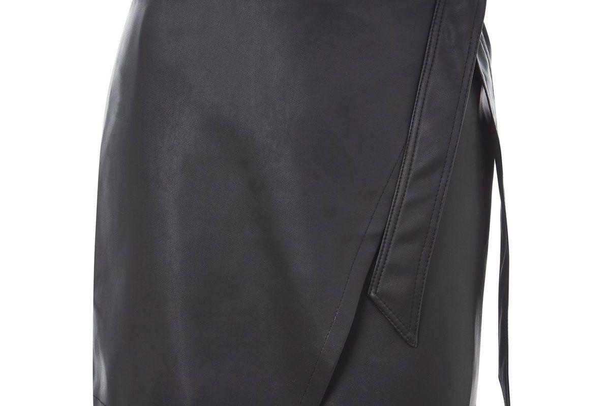Petite Wrap Tie PU Mini Skirt