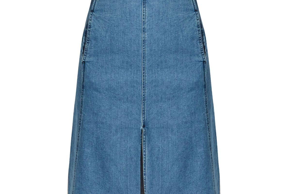 Embossed-Waist Denim Skirt