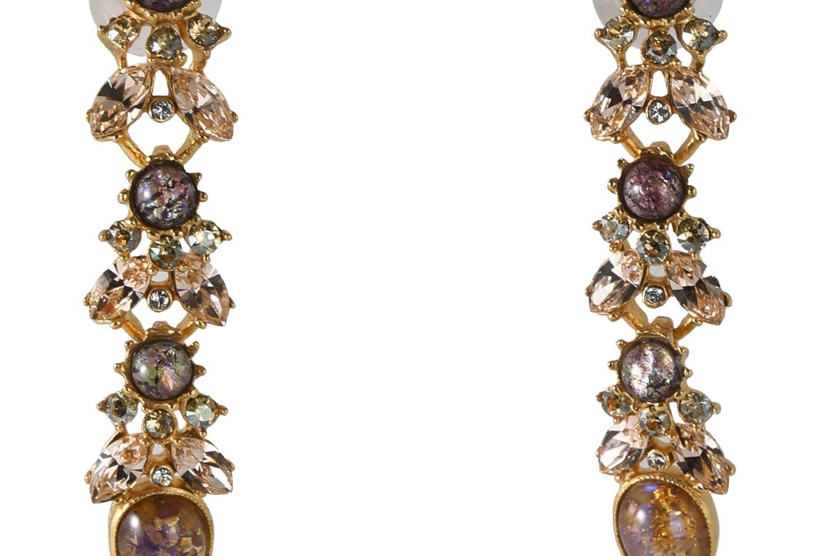 ben amun gold tone stone and crystal earrings