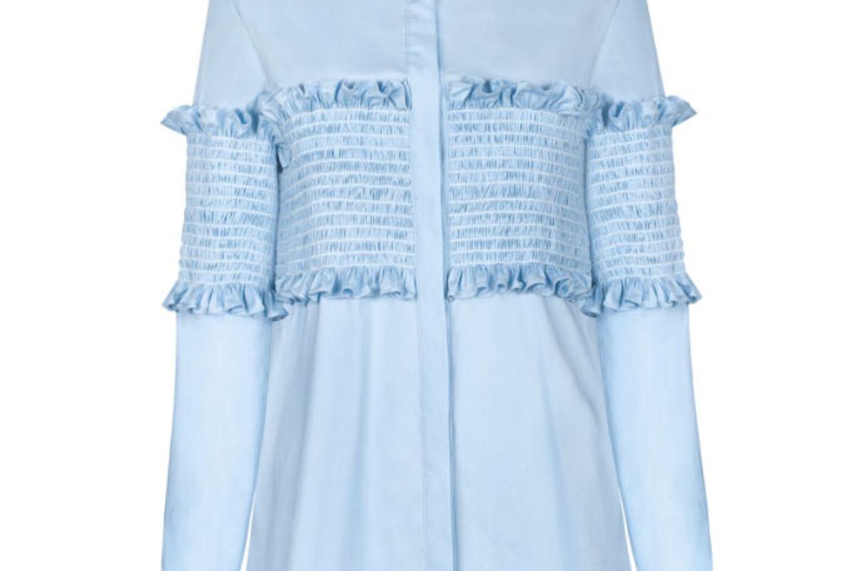 Light Blue Smocked Shirt