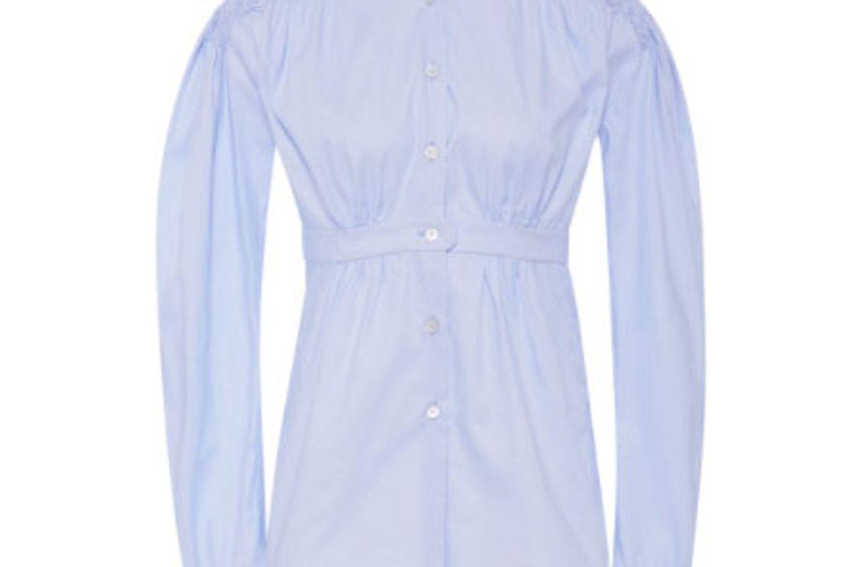 Smocked Cotton-Poplin Shirt
