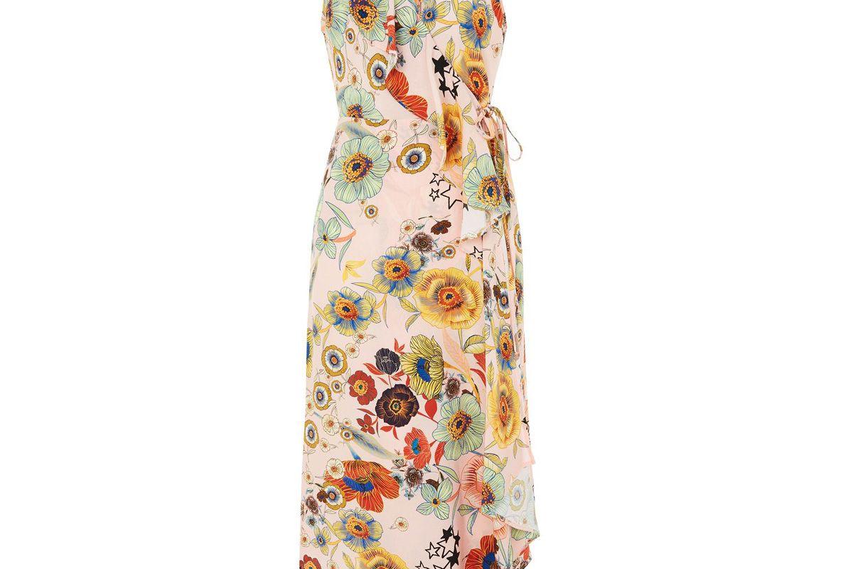 Star & Floral Ruffle Slip Dress