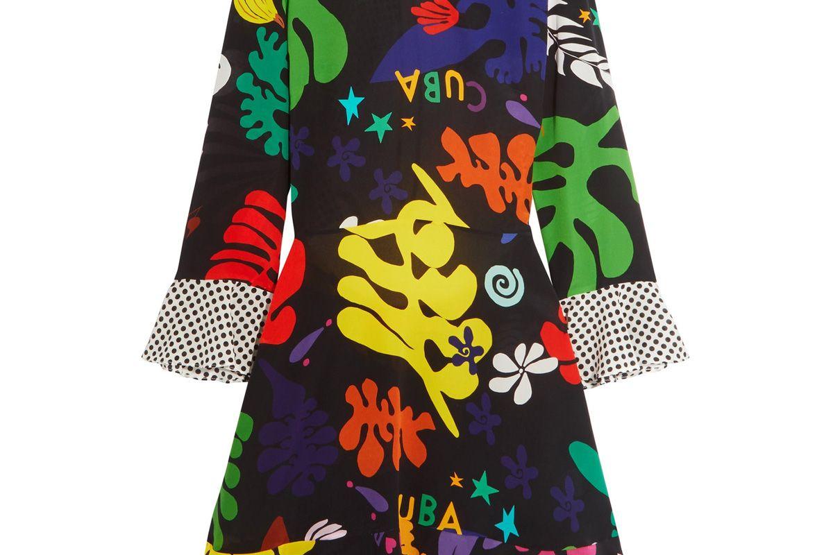 Rebecca Open-Back Ruffled Printed Silk Mini Dress