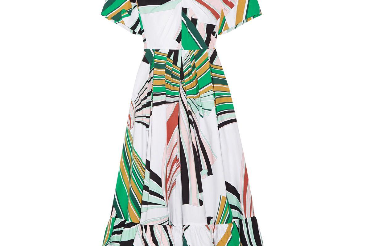 Pleated Printed Stretch-Cotton Poplin Midi Dress