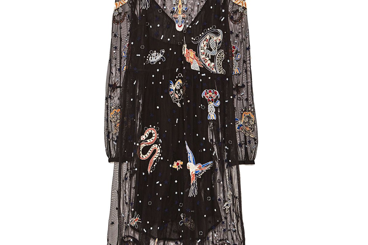 Embroidered Tulle Midi Dress