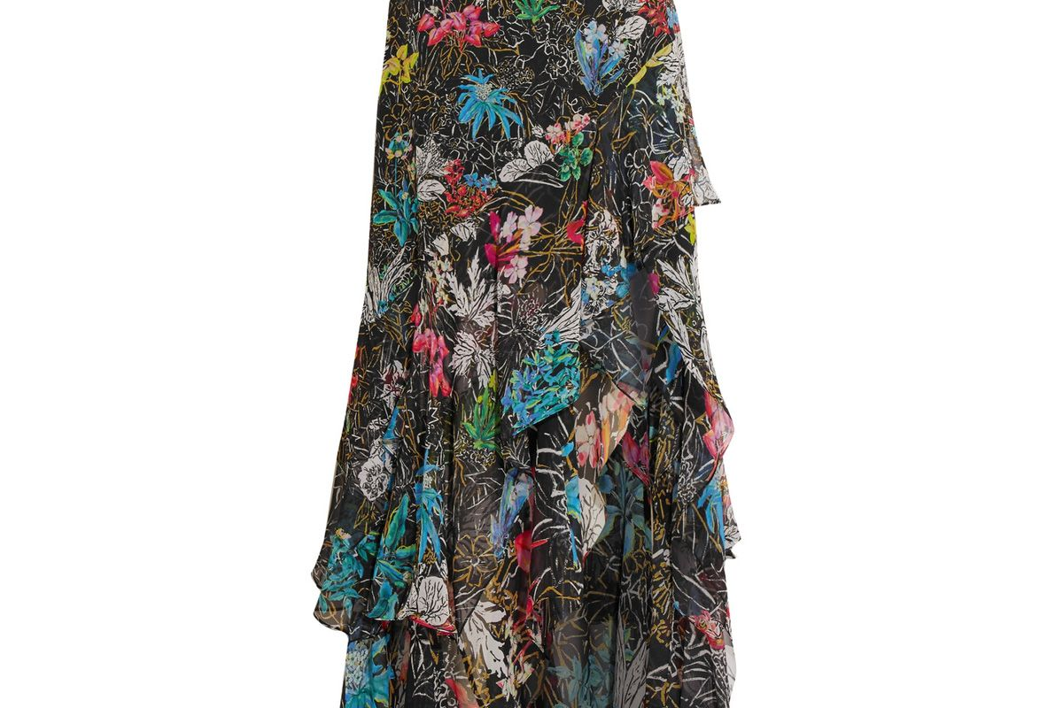 Tiered Ruffled Floral-Print Silk-Georgette Maxi Skirt