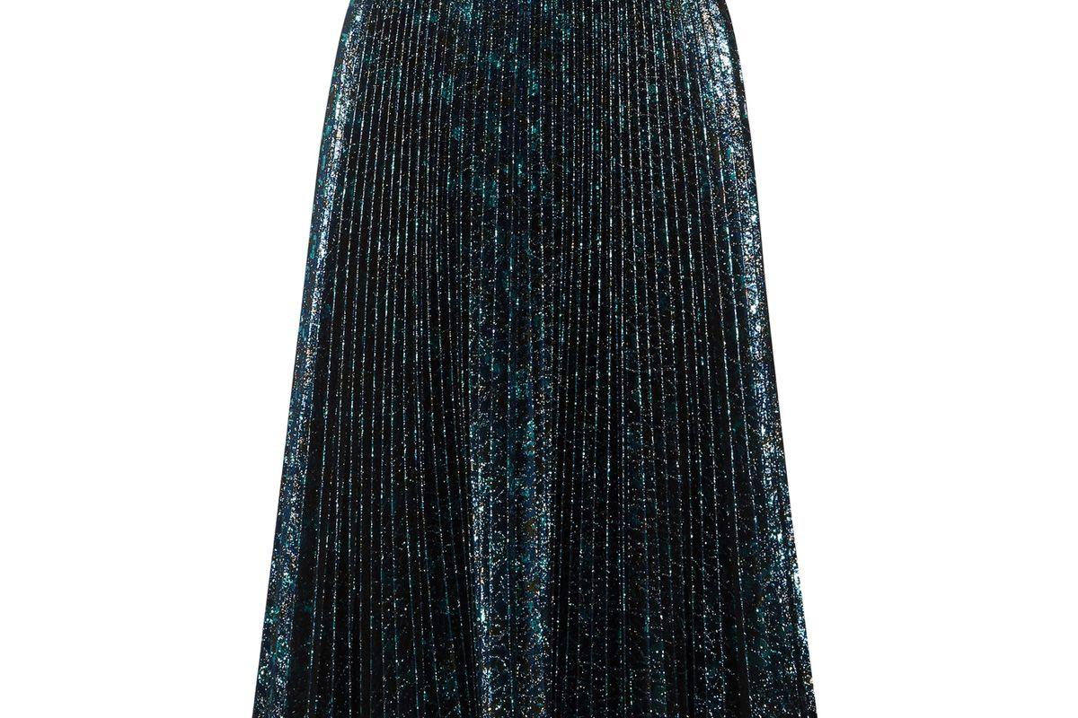 Pleated Metallic Jacquard Midi Skirt