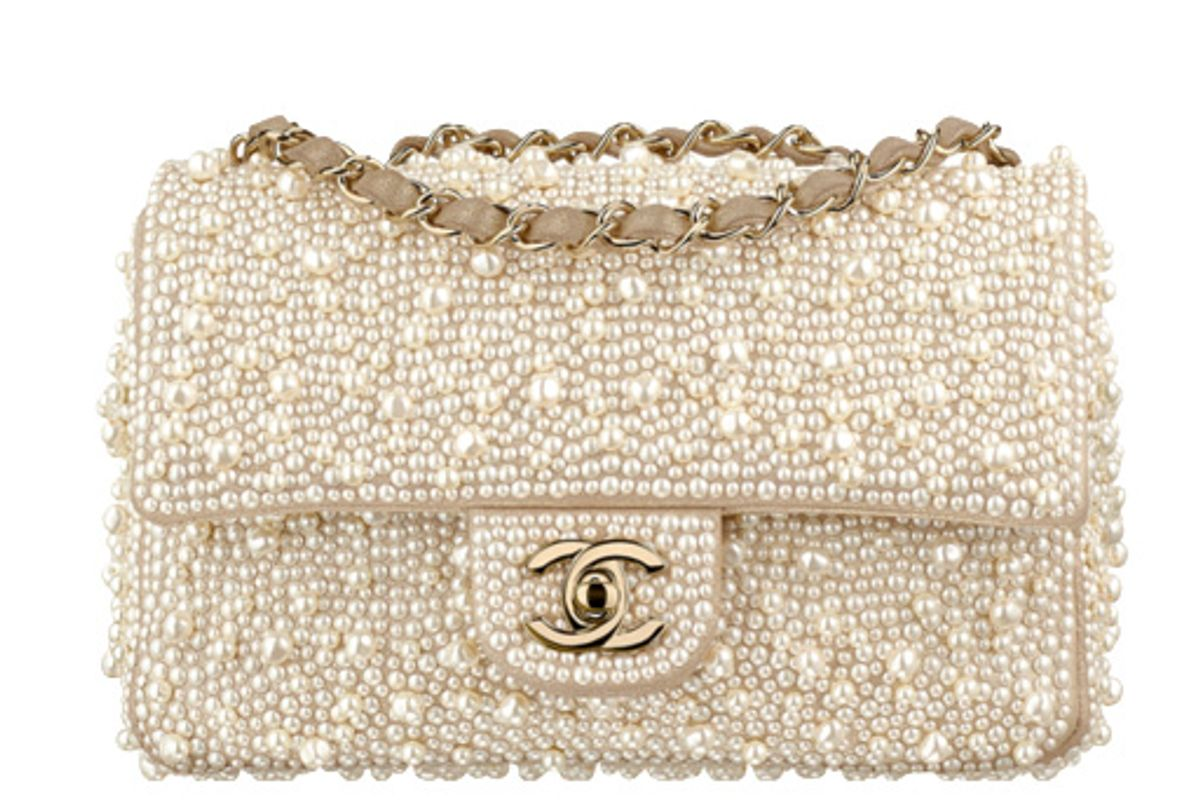 Ivory Flag Bag with Goatskin, Imitation Pearls, and Gold-Tone Metal