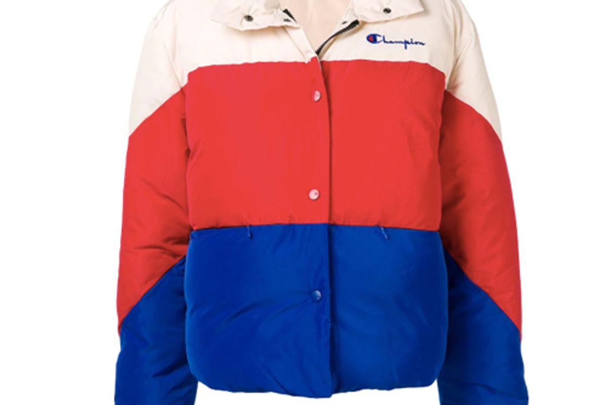 champion colour block puffer jacket
