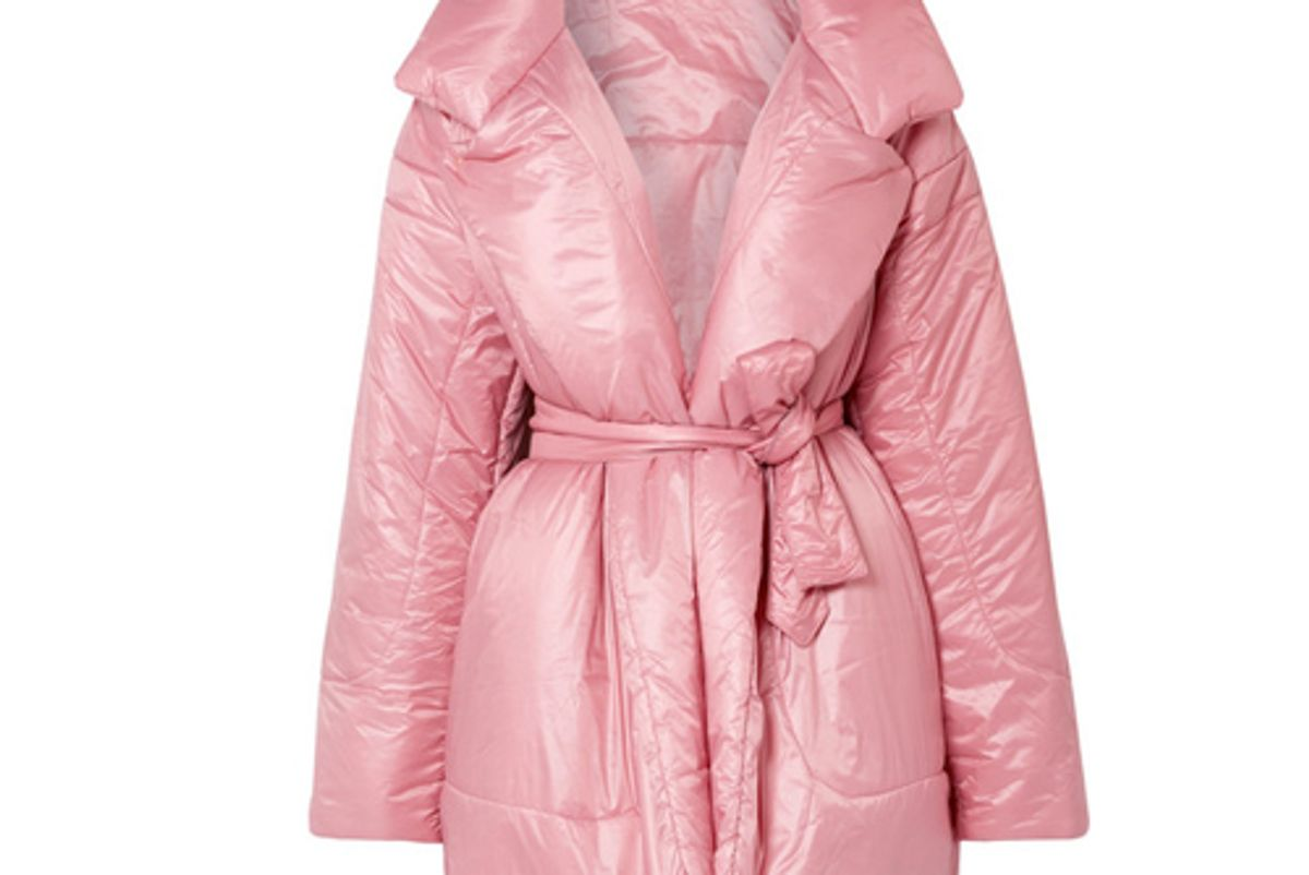 norma kamali belted quilted shell coat shop