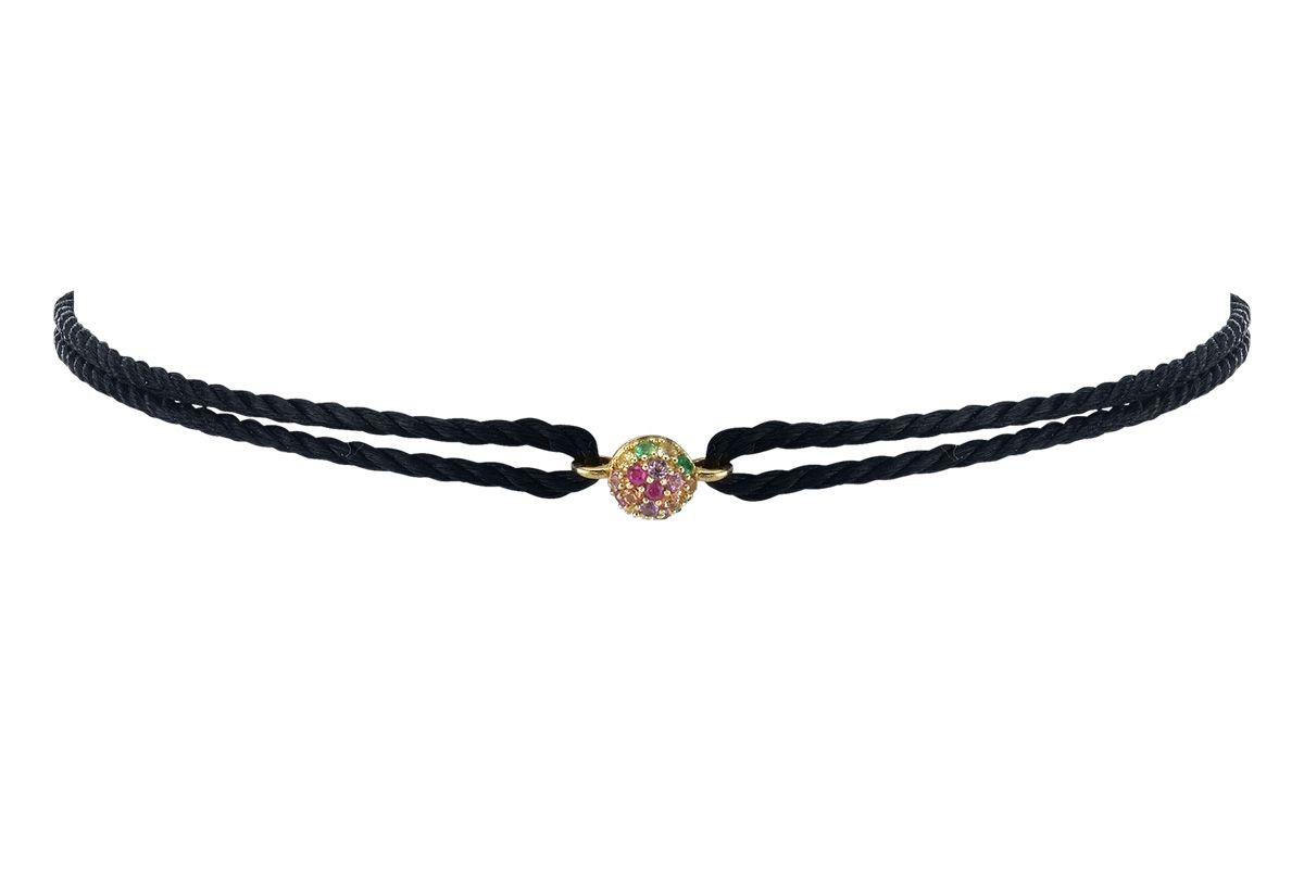 Rainbow Pave Sphere Friendship Bracelet