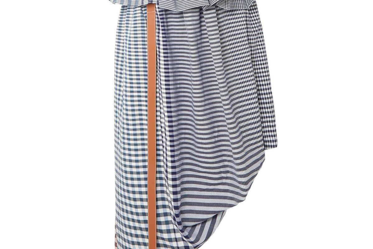 loewe asymmetric leather trimmed checked cotton jacquard midi skirt