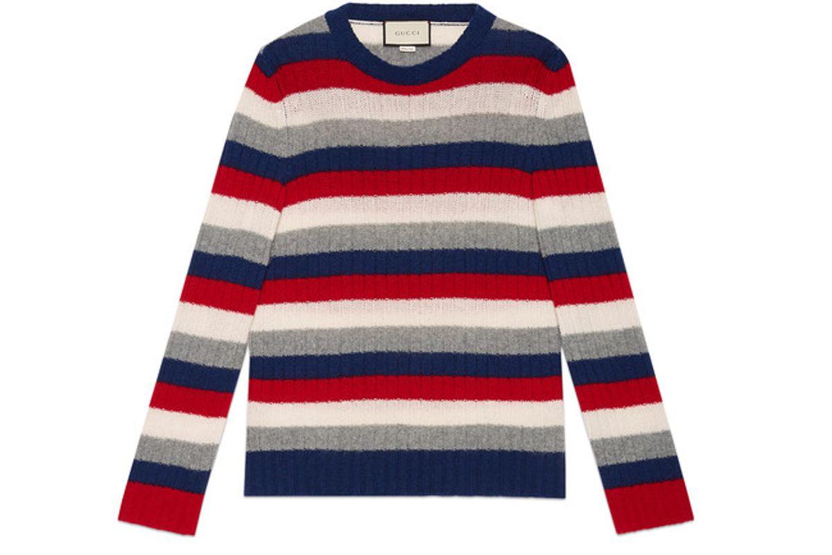 Striped Cashmere Crew Neck Sweater