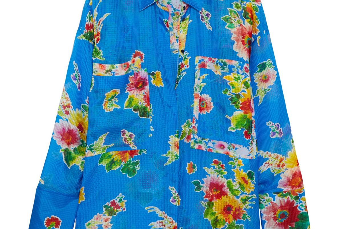Floral-Print Silk-Seersucker Shirt