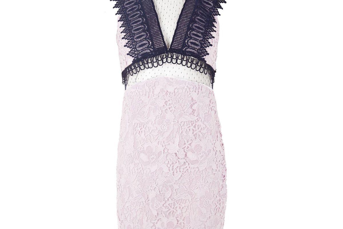 Funnel High Neck Lace Mini Dress